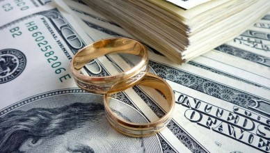 20847599 - gold wedding rings on the money