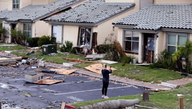 A woman photographs damage at the Bay House Condominiums on Monday, August 28, 2017 in Rockport, Texas, USA. Hurricane Harvey caused tremendous damage to the property. Photo by Rachel Denny Clow/Corpus Christi Caller-Times/TNS/ABACAPRESS.COM