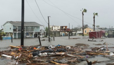 Flooding and debris are seen after Hurricane Harvey hit Rockport, Texas, U.S., on Saturday, Aug. 26, 2017. As Harvey's winds die down, trouble for Texas has just begun as days of flooding rains across the heart of U.S. energy production threaten the country's fourth-largest city and leave farmers struggling to save horses, cows and crops. Photographer: Alex Scott/Bloomberg via Getty Images