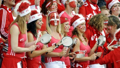 Danish fans are pictured during the UEFA Women's Euro 2009 football match Finland vs Denmark at Olympic stadium in Helsinki, Finland on August 23, 2009. LEHTIKUVA / Jussi Nukari *** FINLAND OUT ***