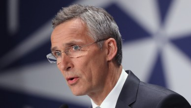 WARSAW, POLAND - JULY 09:  NATO Secetary General Jens Stoltenberg speaks to the media at the Warsaw NATO Summit on July 9, 2016 in Warsaw, Poland. NATO member heads of state, foreign ministers and defense ministers are gathering for a two-day summit that will end later today.  (Photo by Sean Gallup/Getty Images)