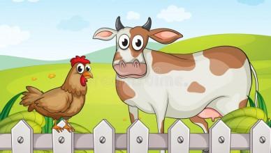 корова-курица-и-красивый-ан-шафт-30350265