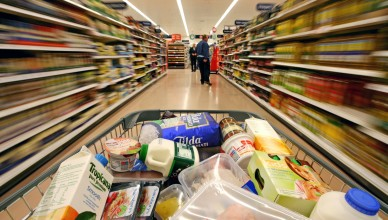 Mandatory Credit: Photo by Chris Ratcliffe / Rex Features (764326s) Blurred shelves as a a trolley is pushed down the aisle at Sainsbury's supermarket. Sainsbury's Supermarket, London Colney, Hertfordshire, Britain - 2008