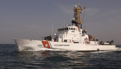 The U.S. Coast Guard Cutter Adak, a 110 foot patrol boat, homeported in Highlands, NJ., patrols the North Arabian Sea off the Coast of Iraq March 06, 2003. The Adak is on one of four 110 foot Coast Guard patrol boats in the Persian Gulf in support of Operation Iraqi Freedom.