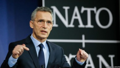 epa06366407 North Atlantic Treaty Organization (NATO) Secretary General Jens Stoltenberg speaks at a news conference, at the NATO headquarters in Brussels, Belgium, 04 December 2017.  EPA-EFE/JULIEN WARNAND