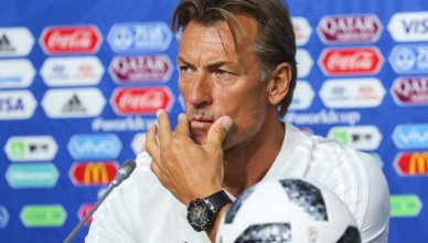epa06807153 Morocco's head coach Herve Renard attends a press conference at the St Petersburg Stadium in St.Petersburg, Russia, 14 June 2018. Morocco will face Iran in the FIFA World Cup 2018 Group B preliminary round soccer match on 15 June 2018.