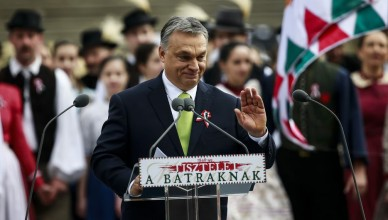 BUDAPEST, HUNGARY - MARCH 15: Hungarian Prime Minister Viktor Orban (C) gestures as he delivers a speech during Hungary's National Day celebrations, which also commemorates the 1848 Hungarian Revolution against the Habsburg monarchy in Budapest, Hungary on March 15, 2017. Arpad Kurucz / Anadolu Agency