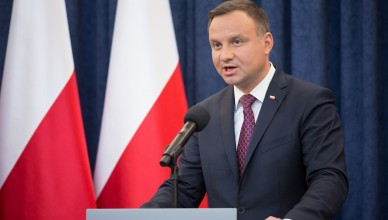 President of Poland Andrzej Duda during the statement about changes in the judicial law and Supreme Court at Presidential Palace in Warsaw, Poland on 18 July 2017 (Photo by Mateusz Wlodarczyk/NurPhoto via Getty Images)
