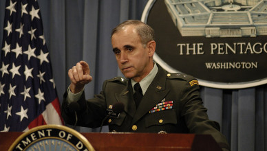 030530-D-2987S-034.Major General Keith W. Dayton, director for Operations, Defense Intelligence Agency, calls on a reporter during a Pentagon briefing May 30, 2003, on the Iraq Survey Group.  DoD photo by Helene C. Stikkel.  (Released)