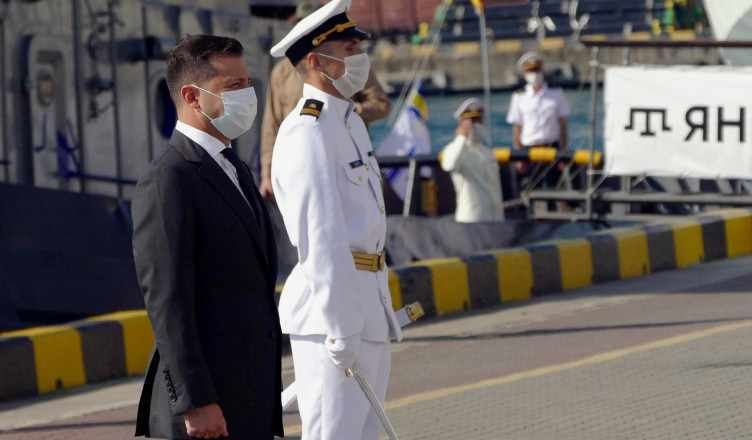 ODESSA, UKRAINE - JULY 5, 2020: Ukraine's President Volodymyr Zelensky attends the opening of a naval parade marking Ukraine's Navy Day at the Odessa marine passenger terminal. The parade is held without public and streamed online amid the COVID-19 coronavirus pandemic. Konstantin Sazonchik/TASS,Image: 540048767, License: Rights-managed, Restrictions: , Model Release: no