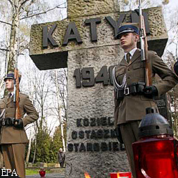 epa01313760 Representatives of Katyn victims' families, veterans, scouts and Warsaw's citzens took part in ceremonies marking Katyn Crime Victims Memorial Day, at a Military Cemetery in Warsaw, 13 April 2008. The Katyn Victims Memorial Day was established in 2007. In the spring of 1940, up to 22,000 Polish officers of the army, the police and other formations were murdered by the Soviet secret police, NKVD, on the orders of the highest command of the Soviet Union.  EPA/TOMASZ GZELL POLAND OUT